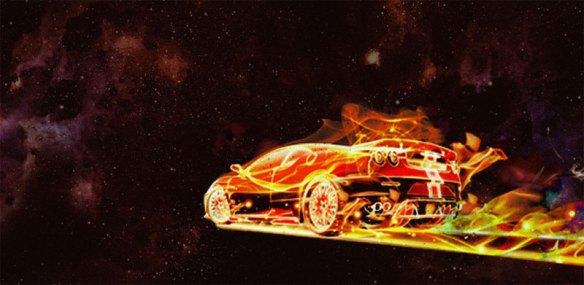 Coche en llamas en el espacio